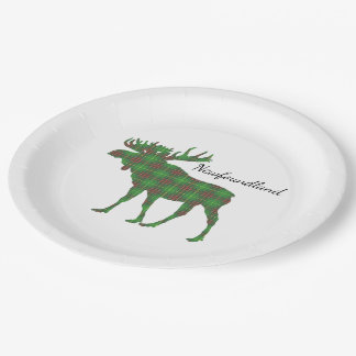 Cute Tartan moose Newfoundland Paper plate