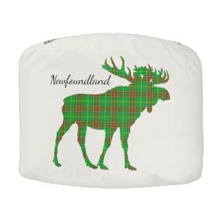 Cute Tartan moose Newfoundland pouf