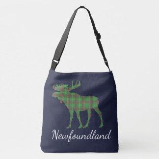Cute Tartan moose Newfoundland   tote bag blue