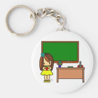 Cute Teacher in her classroom holding an apple Keychain