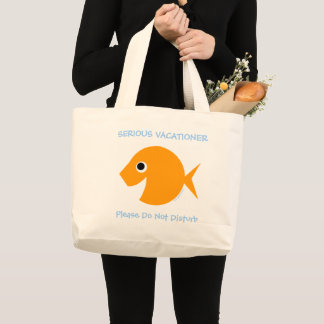 Cute Teacher Summer Vacation Cartoon Fish Beach Large Tote Bag