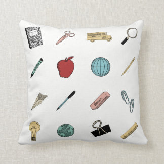 Cute Teachers School Supplies Throw Pillow