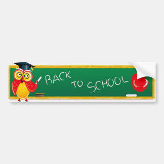 Cute Teaching Owl & Apple Back to School Bumper Sticker