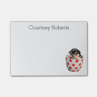 Cute Teacup Puppy with Your Name Custom Post-it Notes