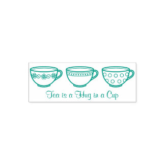 Cute Teacups - Row of Tea Cups Quote Self-inking Stamp