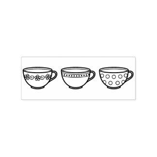 Cute Teacups - Row of Tea Cups Rubber Stamp