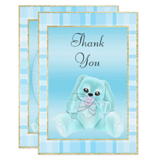 Cute Teal Bunny  Baby Shower Thank You Card