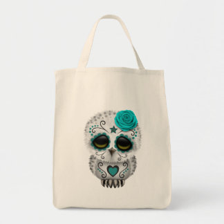 Cute Teal Day of the Dead Sugar Skull Owl Bag