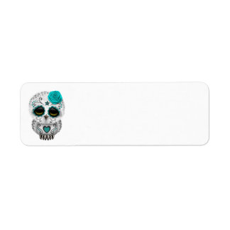 Cute Teal Day of the Dead Sugar Skull Owl Custom Return Address Labels