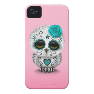 Cute Teal Day of the Dead Sugar Skull Owl Pink Case-Mate iPhone 4 Case