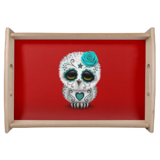 Cute Teal Day of the Dead Sugar Skull Owl Red Serving Platter