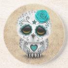 Cute Teal Day of the Dead Sugar Skull Owl Rough Coaster