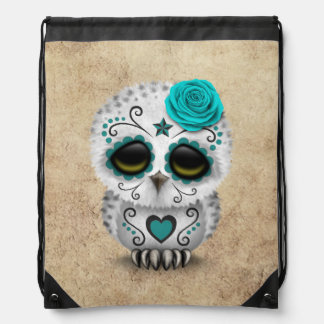 Cute Teal Day of the Dead Sugar Skull Owl Rough Drawstring Backpack