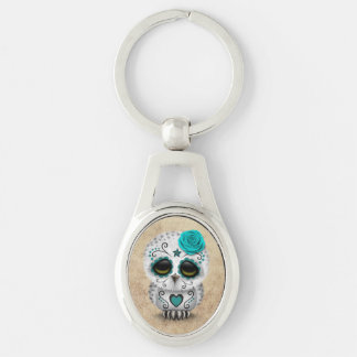 Cute Teal Day of the Dead Sugar Skull Owl Rough Silver-Colored Oval Keychain