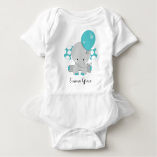 Cute Teal Elephant Baby Girl Monogram Tutu Baby Bodysuit