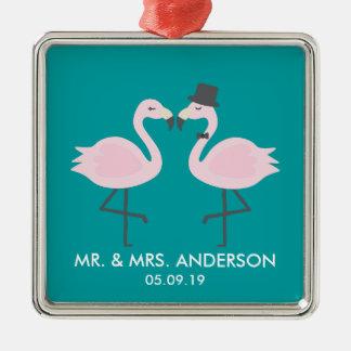 Cute Teal Flamingo Couple Customized Ornament