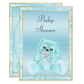 Cute Teal Floppy Ears Bunny Baby Shower Card