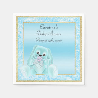 Cute Teal Floppy Ears Bunny Baby Shower Paper Napkins