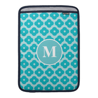 Cute Teal Floral Pattern Monogram Sleeve For MacBook Air