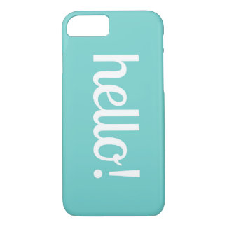 Cute Teal iPhone Case With Hello