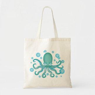 Cute Teal Octopus Tote Bag