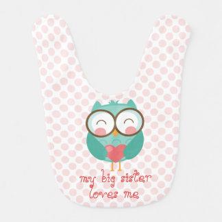 Cute Teal Owl, my big sister loves me (customize) Bib