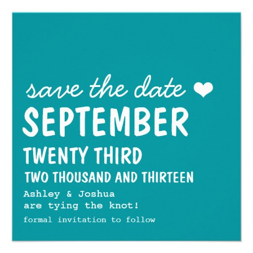 Cute Teal Save The Date Announcements