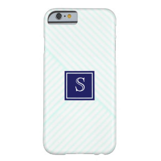 Cute Teal Stripes Pattern Custom Navy Monogram Barely There iPhone 6 Case
