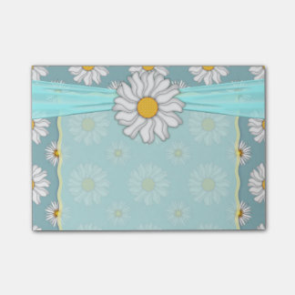 Cute Teal Turquoise and White Daisy Design Post-it Notes