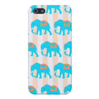 Cute Teal Turquoise Blue Elephants on Peach Stripe iPhone 5/5S Covers