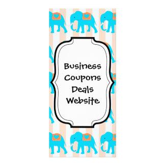 Cute Teal Turquoise Blue Elephants on Peach Stripe Custom Rack Card