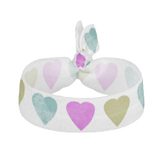 Cute Teal Violet Chartreuse Green Hearts Hair Tie