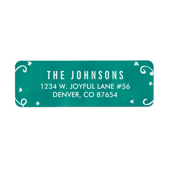 Cute Teal + White Holiday Return Address Label