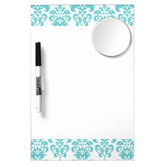 Cute Teal White Vintage Damask Pattern 2 Dry Erase Board With Mirror