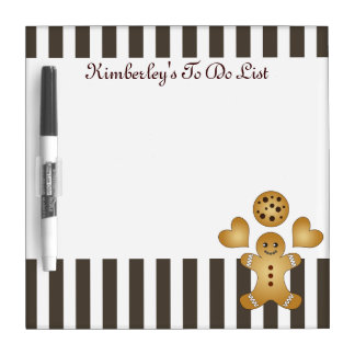 Cute Team Cookie Cartoon Stripes Personalized Kids Dry Erase Board