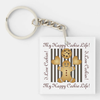 Cute Team Cookie Cartoon Stripes Personalized Kids Keychain