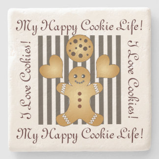 Cute Team Cookie Cartoon Stripes Personalized Kids Stone Coaster