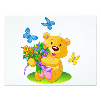 "Cute teddy bear 4.25"" x 5.5"" invitation card"