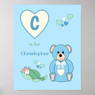 Cute Teddy Bear alphabet name blue green Nursery Poster