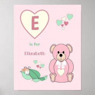 Cute Teddy Bear alphabet name pink green Nursery Poster