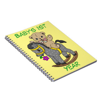 Cute Teddy Bear and Rocking Horse Note Book