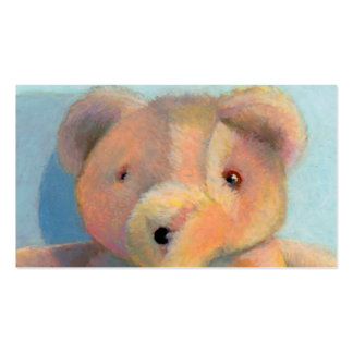 Cute teddy bear art original oil pastel drawing business card
