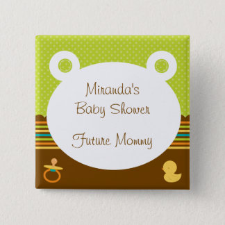 Cute Teddy Bear Baby Shower Button