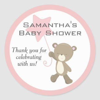 Cute Teddy Bear Baby Shower Classic Round Sticker