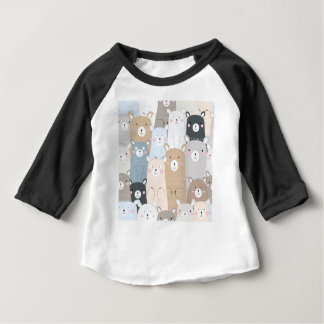 cute teddy bear blue grey pastel pattern baby T-Shirt