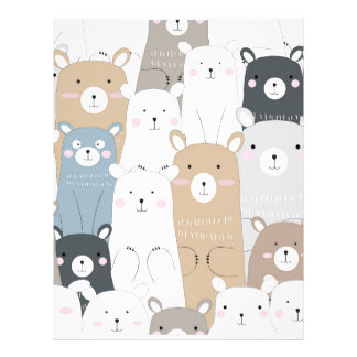 cute teddy bear blue grey pastel pattern letterhead