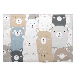 cute teddy bear blue grey pastel pattern placemat