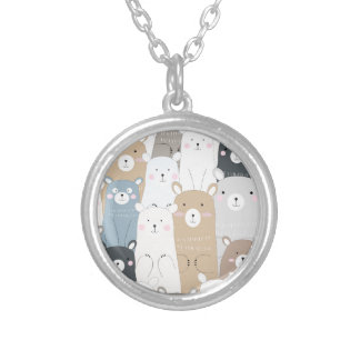 cute teddy bear blue grey pastel pattern silver plated necklace