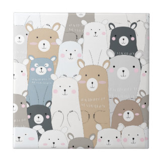 cute teddy bear blue grey pastel pattern tile