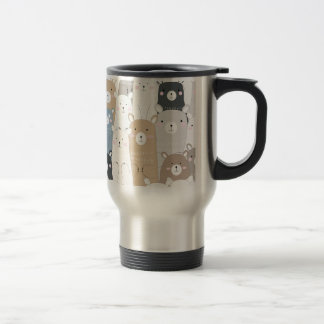 cute teddy bear blue grey pastel pattern travel mug